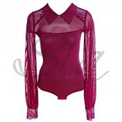 Body with long sleeves Cotton shirt burgundy