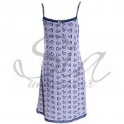 Cotton nightgown with thin straps Petrol hearts